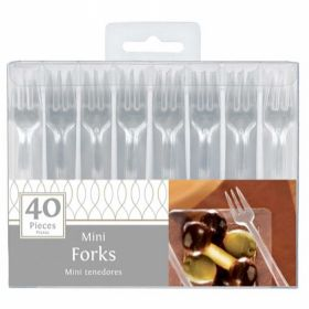 Clear Mini Forks - Party Supplies Emporium